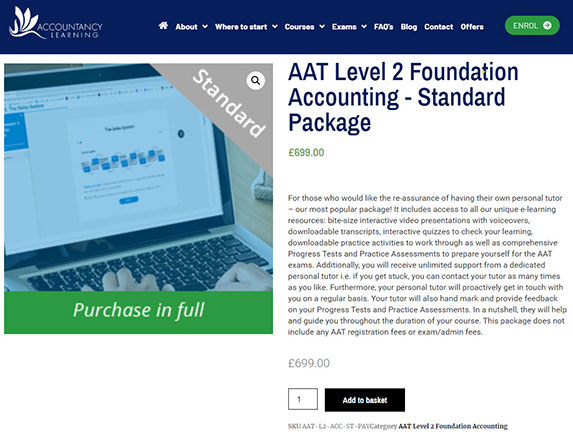 Selecting your AAT course package and payment method example